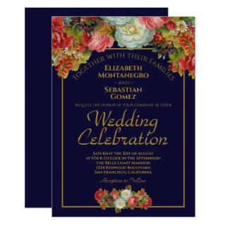 Navy Blue & Gold Vintage Floral Elegant Wedding Invitation