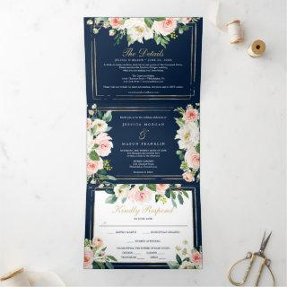 Navy Blue Gold Wedding Tri-Fold Invitations RSVP