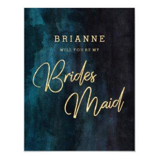 Navy Blue & Gold Will You Be My Bridesmaid Invitation