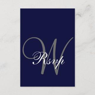 Navy Blue Gray Wedding RSVP Card