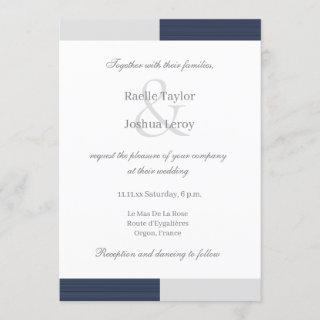 Navy Blue Gray White Stripes Ampersand Wedding Invitation