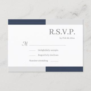 Navy Blue Gray White Stripes Elegant Wedding RSVP Invitations