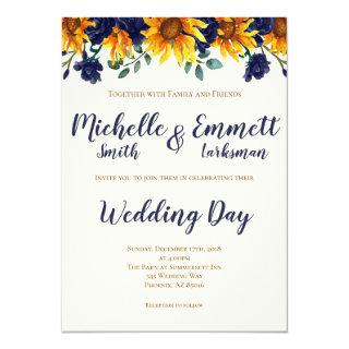 Navy Blue Ivory Rustic Country Sunflower Wedding Invitations