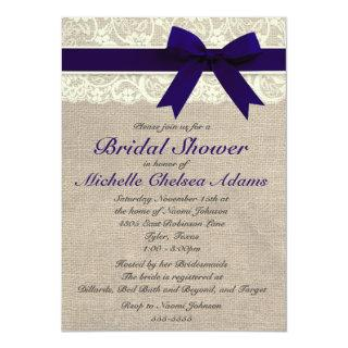 Navy Blue Lace Burlap Bridal Shower Invitations