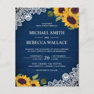 Navy Blue Lace Sunflower Budget Wedding Invitations