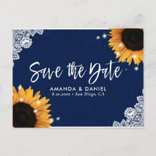 Navy Blue Lace Sunflower Save The Date Postcard