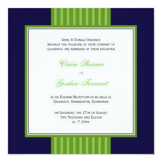 Navy Blue & Lime Green Wedding Invitations