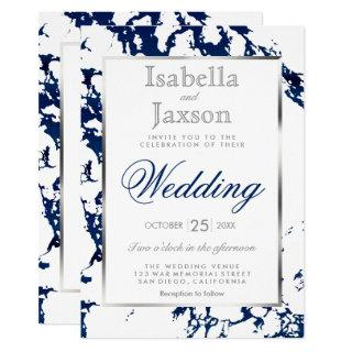 Navy Blue Marble, Silver & White Invitations
