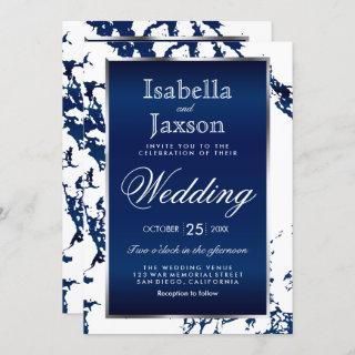 Navy Blue Marble, White & Silver Invitation