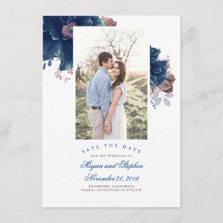 Navy Blue & Mauve Floral Photo Save the Date Card