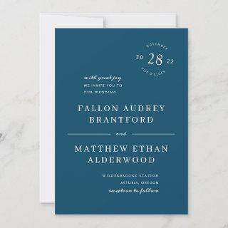 Navy Blue Modern Date Seal Wedding Invitations
