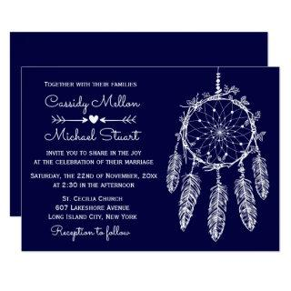 Navy Blue Native American Dream Catcher Wedding Invitation