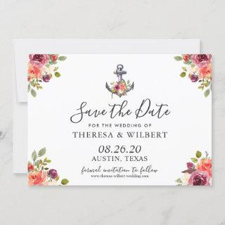 Navy Blue Nautical Anchor Floral Save the Date