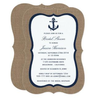 Navy Blue Nautical Anchor On Burlap Bridal Shower Invitation
