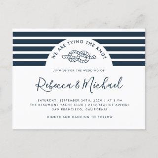 Navy Blue Nautical Tying The Knot Wedding Invitation Postcard
