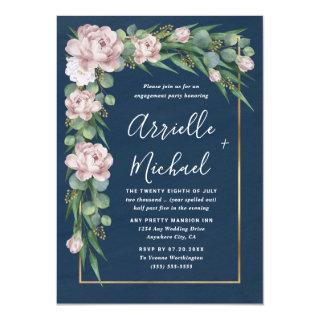 Navy Blue Pink Dusty Rose Gold Engagement Party Invitations