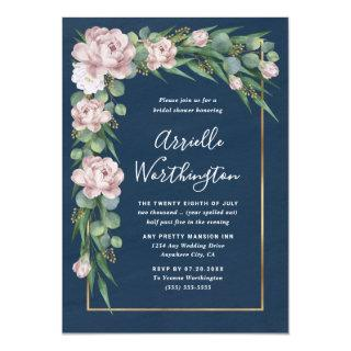 Navy Blue & Pink Dusty Rose Greenery Bridal Shower Invitation