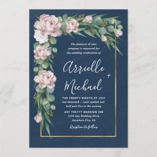 Navy Blue & Pink Dusty Rose Greenery Gold Wedding Invitations