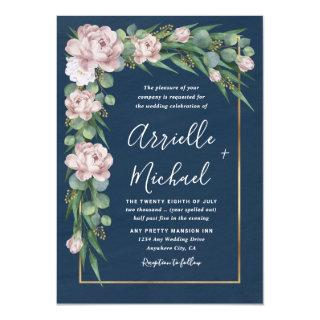 Navy Blue & Pink Dusty Rose Greenery Gold Wedding Invitation