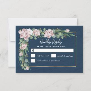Navy Blue & Pink Dusty Rose Greenery Gold Wedding RSVP Card
