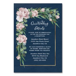 Navy Blue Pink Dusty Rose Wedding Enclosure Cards