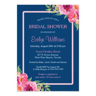 Navy Blue Purple Pink Floral Classy Bridal Shower Invitation