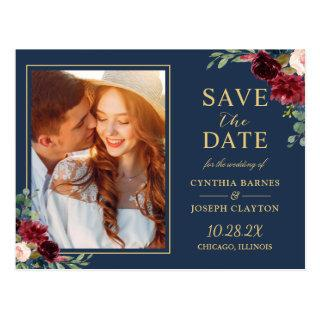 Navy Blue Red Floral Photo Save the Date Postcard