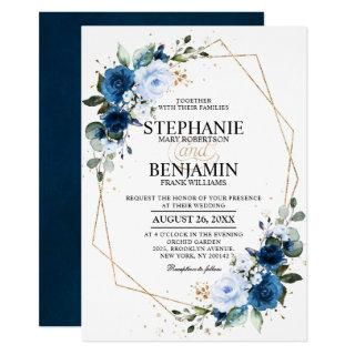 Navy Blue Rose Boho Geometric Wedding Invitations