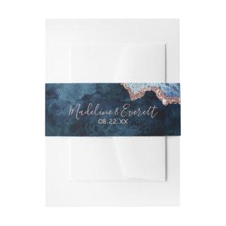 Navy Blue Rose Gold Agate Marble Wedding Monogram Invitation Belly Band