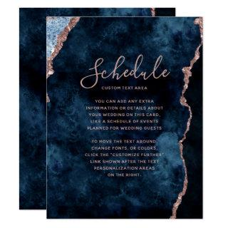 Navy Blue Rose Gold Agate Marble Wedding Schedule Invitation