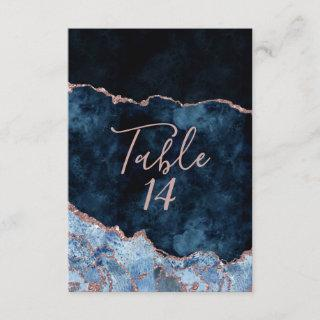 Navy Blue Rose Gold Agate Wedding Table Numbers