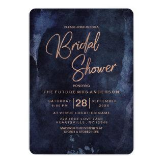 Navy Blue & Rose Gold Bridal Shower Invitations