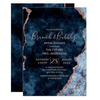 Navy Blue Rose Gold Brunch & Bubbly Bridal Shower Invitations