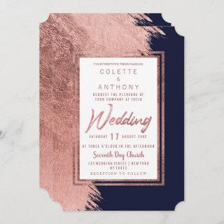 Navy blue rose gold brushstrokes modern Wedding Invitation