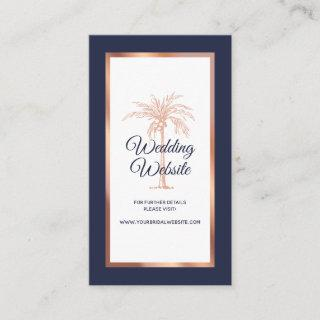 Navy Blue Rose Gold Copper Palm Wedding Website Enclosure Card