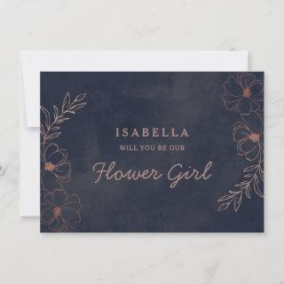 Navy Blue & Rose Gold Flower Girl Proposal Card
