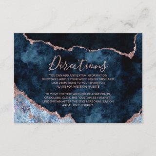 Navy Blue Rose Gold Foil Agate Wedding Directions Enclosure Card