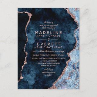 Navy Blue Rose Gold Foil Agate Wedding Invitations