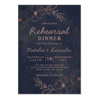 Navy Blue & Rose Gold Foil Chic Rehearsal Dinner Invitation