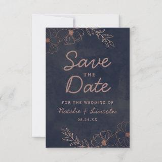 Navy Blue & Rose Gold Foil Floral Border Rustic Save The Date