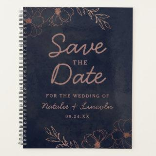 Navy Blue & Rose Gold Foil Save the Date Wedding Planner