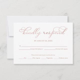 Navy Blue Rose Gold Foil Script Wedding RSVP Card