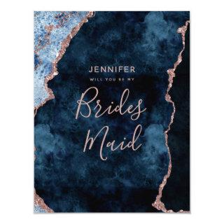 Navy Blue Rose Gold Foil Will You Be My Bridesmaid Invitations