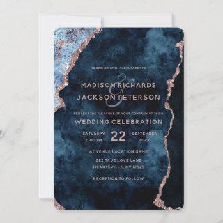 Navy Blue Rose Gold Marble Wedding Invitations
