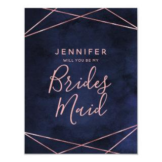 Navy Blue & Rose Gold Will You Be My Bridesmaid Invitation