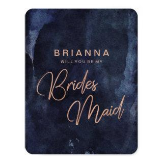 Navy Blue & Rose Gold Will You Be My Bridesmaid Invitations