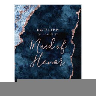 Navy Blue Rose Gold Will You Be My Maid of Honor Invitations