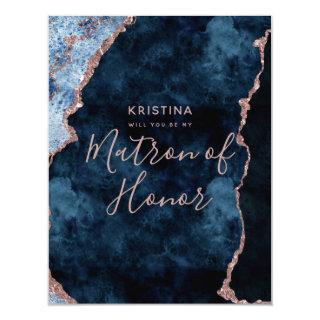 Navy Blue Rose Gold Will You Be My Matron of Honor Invitation