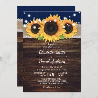 Navy Blue Rustic Burlap and Lace Sunflower Wedding Invitation