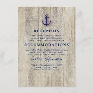 Navy Blue Rustic Nautical Wedding Details Enclosure Card